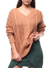 Fashion Lab - Cable Knit V-neck Oversized Sweater-2280683