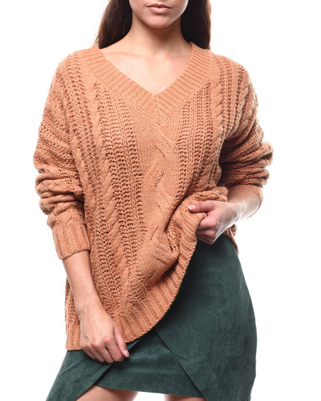 Fashion Lab - Cable Knit V-neck Oversized Sweater