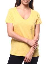 Fashion Lab - Vneck S/S Slit Side Tee-2280401
