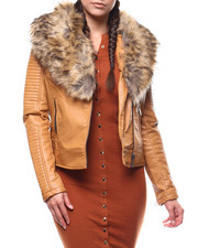 Women - Biker Faux Leather Jacket/Faux Fur-2279378