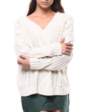 Fashion Lab - Cable Knit V-neck Oversized Sweater-2280687