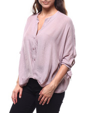 Women - Mandarin Collar Tie Cuff Button Down Blouse-2280675