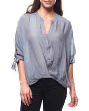 Women - Mandarin Collar Tie Cuff Button Down Blouse-2280679