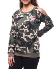 Women - Cold Shoulder Camo Floral Pullover-2280715