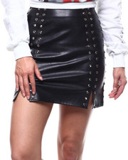 Women - Studded Faux Leather Skirt-2280533