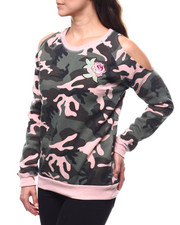 Women - Cold Shoulder Camo Floral Pullover-2280724