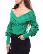 Womens-Winter - Off Shoulder Balloon Sleeve Sweater-2280513
