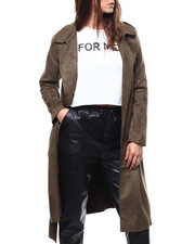Womens-Winter - Suede Trench Coat-2280707