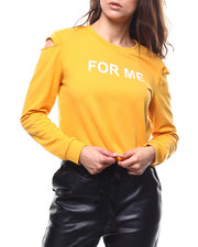 "Women - ""For Me"" Cut Out Sleeve French Terry Pullover-2280437"