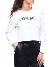 "Women - ""For Me"" Cut Out Sleeve French Terry Pullover-2280896"