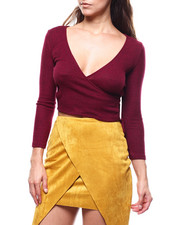 Women - L/S Wrap V-neck Side Tie Top-2279370