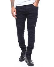 Jeans & Pants - Black Camo Moto Pant w Zip Knee Detail-2279859
