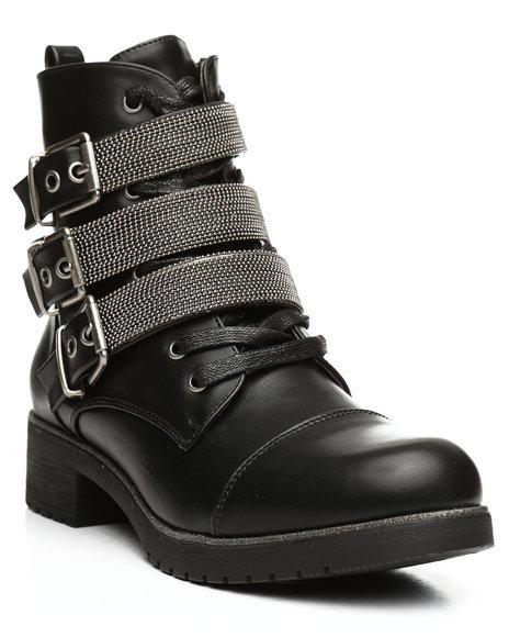 Fashion Lab - Lace Up Multi Strap Boots
