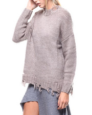 Fashion Lab - Distressed Hem Cable Knit Sweater-2280521