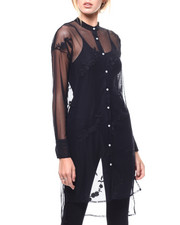 Fashion Tops - Sheer Embroidered Hitlow Tunic-2280815