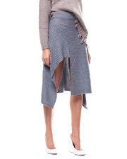 Women - Sweater Ribbed Knit Hi-Low Skirt-2280545