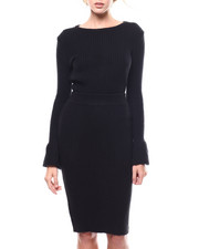Fashion Lab - Bell Sleeve Sweater/ Midi Skirt Set-2280784