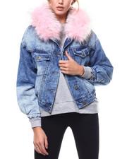 Outerwear - Faux Fur Hood Sherpa Lined Denim Jacket-2282917
