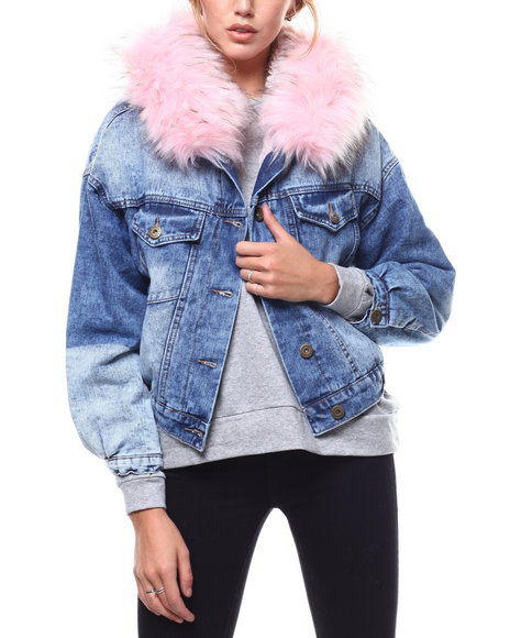 Fashion Lab - Faux Fur Hood Sherpa Lined Denim Jacket