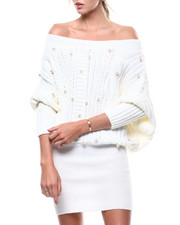 Fashion Lab - Pearl Accent Off Shoulder Sweater Dress-2280829