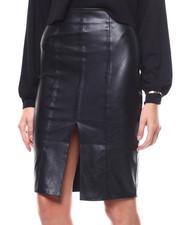 Fashion Lab - Faux Leather Slit Front Midi Skirt-2280525