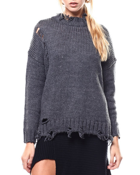 Fashion Lab - Distressed Hem Cable Knit Sweater