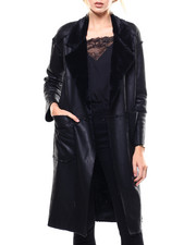 Womens-Winter - Faux Leather Oversized Jacket-2282913