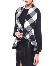 Sweaters - Buffalo Plaid Shawl Collar Vest-2280691