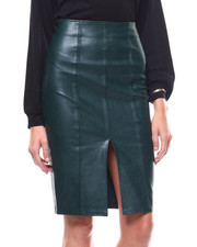 Womens-Fall - Faux Leather Slit Front Midi Skirt-2280529