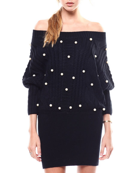 Fashion Lab - Pearl Accent Off Shoulder Sweater Dress
