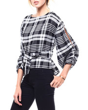 Fashion Tops - Plaid L/S Tie Back Blouse-2282909