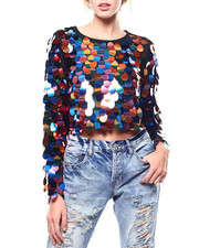 Womens-Fall - Large Sequin L/S Crop Top-2282905