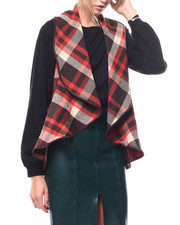 Sweaters - Buffalo Plaid Shawl Collar Vest-2280699
