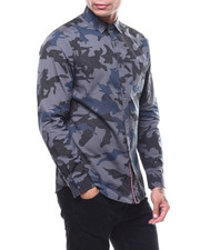 Mens-Holiday - Run for Cover Camo LS Button down Shirt-2283670
