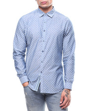 Mens-Holiday - Polka Dot  LS Woven Shirt-2282942