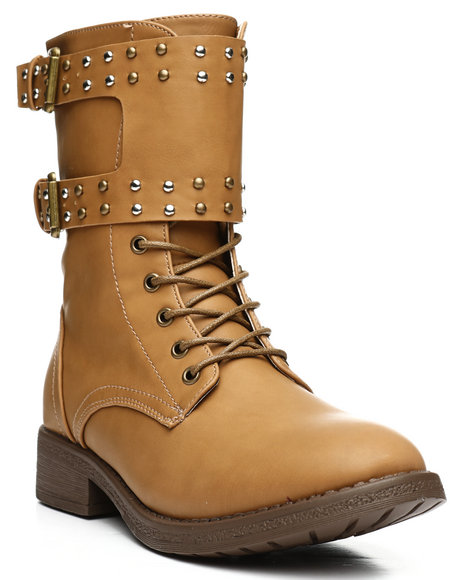 Fashion Lab - Double Strap Lace Up Bootie