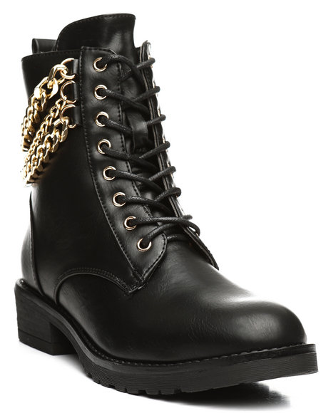 Fashion Lab - Lace Up Chain Bootie