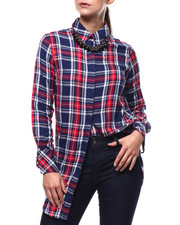 Tops - Plaid L/S Tie Sleeve Oversized Tunic-2283778