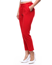 Fashion Lab - Pull On Ruffle Waistband Pleated Tapered Pant-2282875