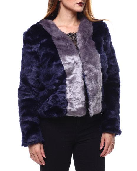 Fashion Lab - Color Block Faux Fur Jacket