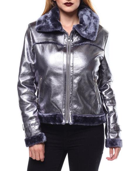 Fashion Lab - Faux Fur Lined Metallic Moto Jacket