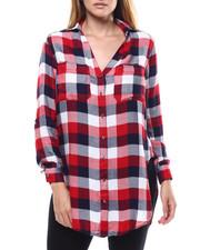 Womens-Fall - Plaid L/S Vneck Tail Hem Shirt-2285217