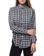 Tops - Plaid L/S Roll Sleeve Side Slit Tunic-2284913