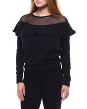 Tops - Ruffle Mesh Sweatshirt-2286112