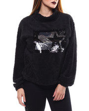 Womens-Holiday - Reverse Sequin Cozy Plush Top-2286006