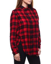 Tops - Plaid L/S Roll Sleeve Side Slit Tunic-2285223