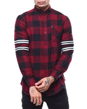 Button-downs - BUFFALO RED  PLAID FLANNEL W ARM BAND DETAIL-2285694