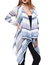 Sweaters - Light Marl Stripe Cascade Cardigan-2286066