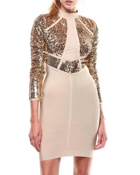 Fashion Lab - Mock Neck L/S Mesh Trim Bandage Dress