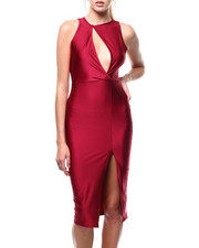 Bodycon - S/L Cutout Front Slit Dress-2285203